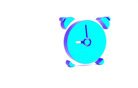 Turquoise Alarm clock icon isolated on white background. Wake up, get up concept. Time sign. Minimalism concept. 3d illustration 3D render Banco de Imagens