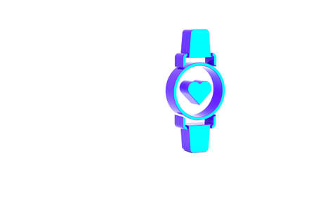 Turquoise Smart watch showing heart beat rate icon isolated on white background. Fitness App concept. Minimalism concept. 3d illustration 3D render