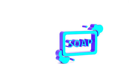Turquoise Bar of soap with foam icon isolated on white background. Soap bar with bubbles. Minimalism concept. 3d illustration 3D render