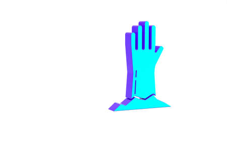 Turquoise Zombie hand icon isolated on white background. Arm monster dead. Happy Halloween party. Minimalism concept. 3d illustration 3D render Standard-Bild
