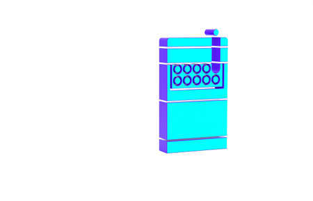 Turquoise Open cigarettes pack box icon isolated on white background. Cigarettes pack. Minimalism concept. 3d illustration 3D render