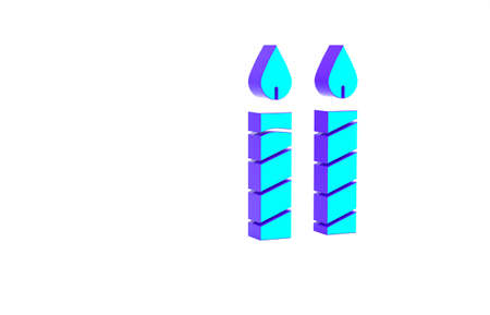 Turquoise Birthday cake candles icon isolated on white background. Minimalism concept. 3d illustration 3D render Standard-Bild