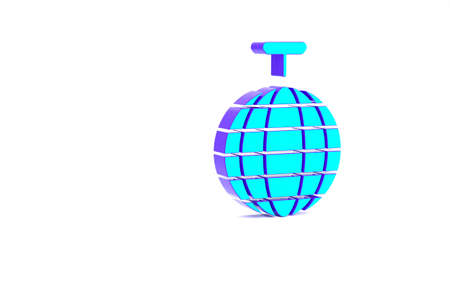 Turquoise Disco ball icon isolated on white background. Minimalism concept. 3d illustration 3D render