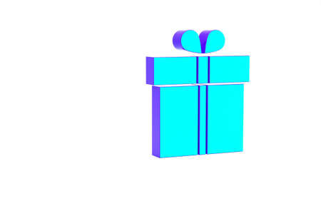 Turquoise Gift box icon isolated on white background. Minimalism concept. 3d illustration 3D render