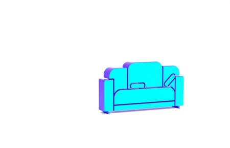 Turquoise Sofa icon isolated on white background. Minimalism concept. 3d illustration 3D render Standard-Bild