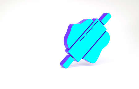 Turquoise Rolling pin icon isolated on white background. Minimalism concept. 3d illustration 3D render Zdjęcie Seryjne