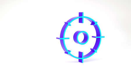 Turquoise Target sport for shooting competition icon isolated on white background. Clean target with numbers for shooting range or shooting. Minimalism concept. 3d illustration 3D render