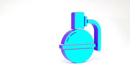 Turquoise Hand grenade icon isolated on white background. Bomb explosion. Minimalism concept. 3d illustration 3D render 免版税图像