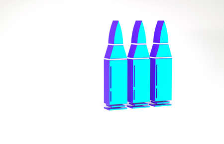 Turquoise Bullet icon isolated on white background. Minimalism concept. 3d illustration 3D render 写真素材