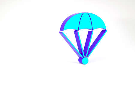 Turquoise Parachute icon isolated on white background. Minimalism concept. 3d illustration 3D render