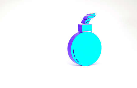 Turquoise Bomb ready to explode icon isolated on white background. Minimalism concept. 3d illustration 3D render 免版税图像