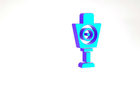 Turquoise Human target sport for shooting icon isolated on white background. Clean target with numbers for shooting range or shooting. Minimalism concept. 3d illustration 3D render