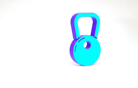 Turquoise Kettlebell icon isolated on white background. Minimalism concept. 3d illustration 3D render 스톡 콘텐츠