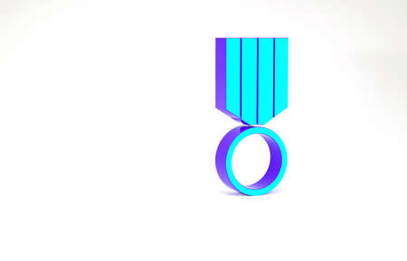 Turquoise Military reward medal icon isolated on white background. Army sign. Minimalism concept. 3d illustration 3D render