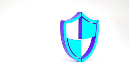 Turquoise Shield icon isolated on white background. Guard sign. Security, safety, protection, privacy concept. Minimalism concept. 3d illustration 3D render 版權商用圖片