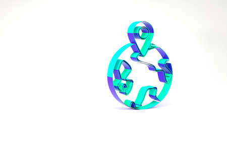 Turquoise Worldwide icon isolated on white background. Pin on globe. Minimalism concept. 3d illustration 3D render