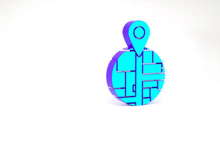 Turquoise Placeholder on map paper in perspective icon isolated on white background. Minimalism concept. 3d illustration 3D render
