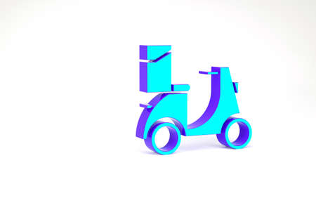 Turquoise Scooter delivery icon isolated on white background. Delivery service concept. Minimalism concept. 3d illustration 3D render