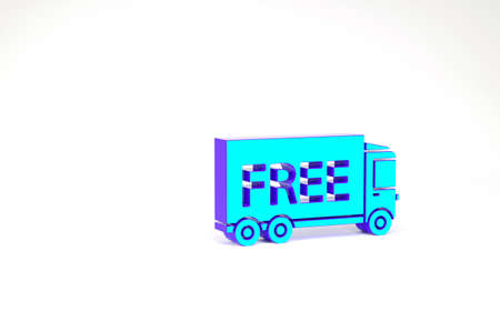 Turquoise Free delivery service icon isolated on white background. Free shipping. 24 hour and fast delivery. Minimalism concept. 3d illustration 3D render