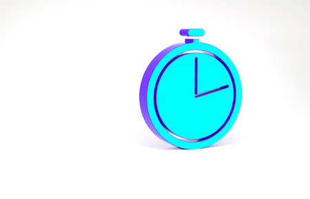 Turquoise Stopwatch icon isolated on white background. Time timer sign. Minimalism concept. 3d illustration 3D render Zdjęcie Seryjne
