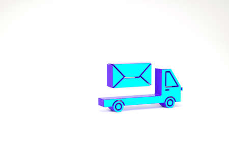Turquoise Post truck icon isolated on white background. Mail car. Vehicle truck transport with envelope or letter. Minimalism concept. 3d illustration 3D render Zdjęcie Seryjne
