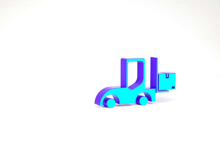 Turquoise Forklift truck icon isolated on white background. Fork loader and cardboard box. Cargo delivery, shipping, transportation. Minimalism concept. 3d illustration 3D render