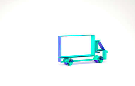 Turquoise Delivery cargo truck vehicle icon isolated on white background. Minimalism concept. 3d illustration 3D render