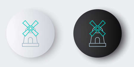 Line Windmill icon isolated on grey background. Colorful outline concept. Vector
