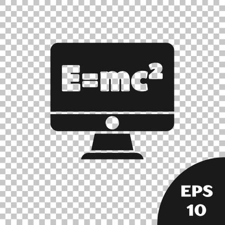 Black Math system of equation solution on computer monitor icon isolated on transparent background. E equals mc squared equation on computer screen. Vector