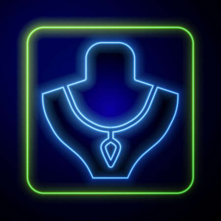 Glowing neon Necklace on mannequin icon isolated on blue background. Vector