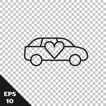Black line Luxury limousine car icon isolated on transparent background. For world premiere celebrities and guests poster. Vector