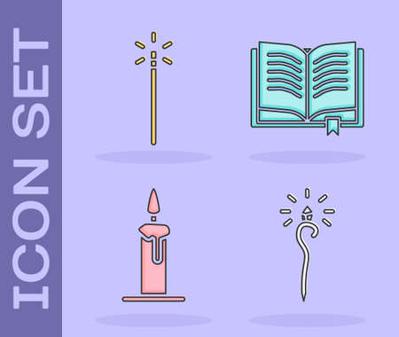 Set Magic staff, Magic wand, Burning candle in candlestick and Ancient magic book icon. Vector Illustration