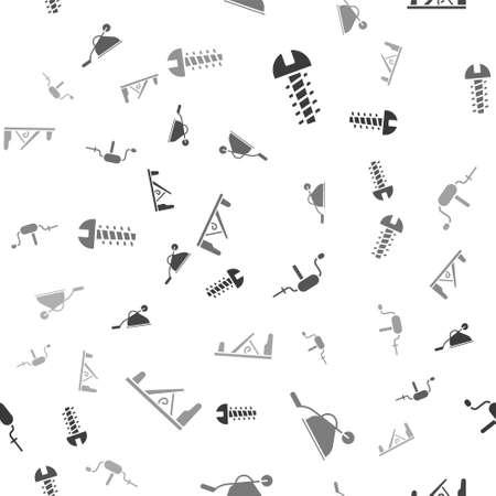 Set Metallic screw, Wheelbarrow, Hand drill and Wood plane tool on seamless pattern. Vector Иллюстрация