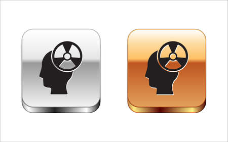 Black Silhouette of a human head and a radiation symbol icon isolated on white background. Silver-gold square button. Vector