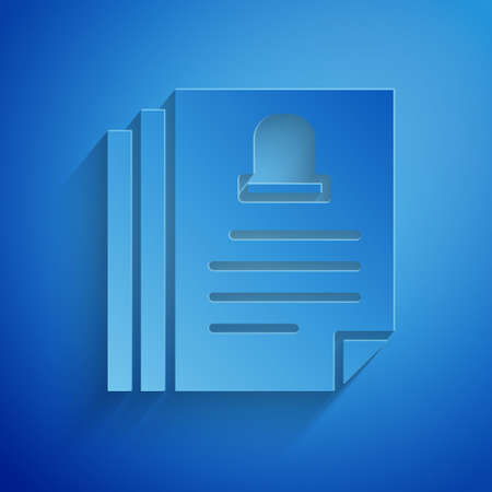 Paper cut Death certificate icon isolated on blue background. Paper art style. Vector