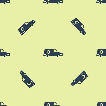 Blue Hearse car icon isolated seamless pattern on yellow background. Vector