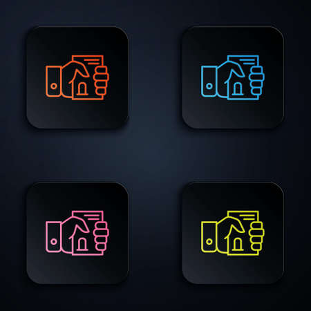 Color neon line Death certificate in hand icon isolated on black background. Set icons in square buttons. Vector Ilustrace