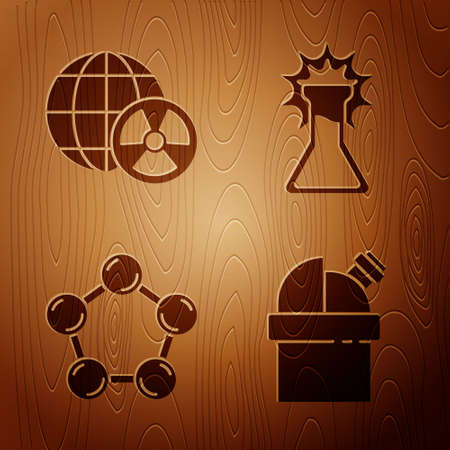Set Astronomical observatory, Planet earth and radiation, Molecule and Test tube and flask on wooden background. Vector Vector Illustratie