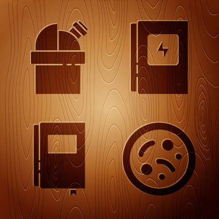 Set Bacteria, Astronomical observatory, Book and Electrical panel on wooden background. Vector