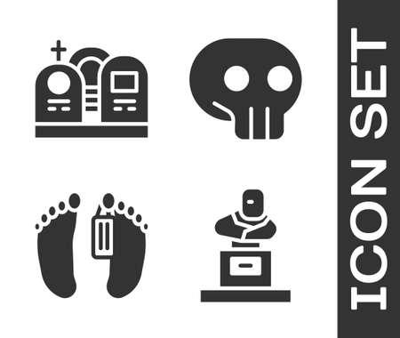 Set Grave with tombstone, Grave with tombstone, Dead body and Skull icon. Vector Illustration