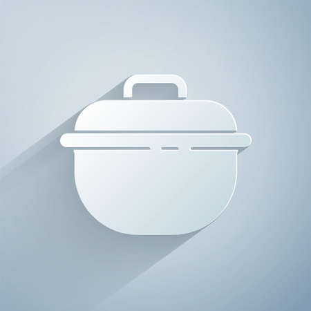 Paper cut Cooking pot icon isolated on grey background. Boil or stew food symbol. Paper art style. Vector