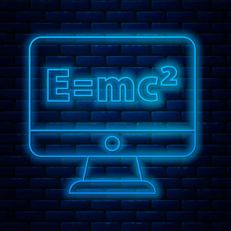 Glowing neon line Math system of equation solution on computer monitor icon isolated on brick wall background. E equals mc squared equation on computer screen. Vector Ilustración de vector
