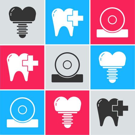 Set Dental implant, Dental clinic for dental care tooth and Otolaryngological head reflector icon. Vector