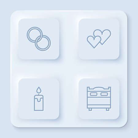 Set line Wedding rings, Heart, Burning candle and Bedroom. White square button. Vector