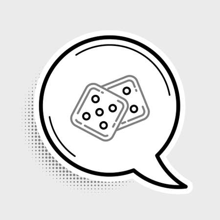 Line Game dice icon isolated on grey background. Casino gambling. Colorful outline concept. Vector