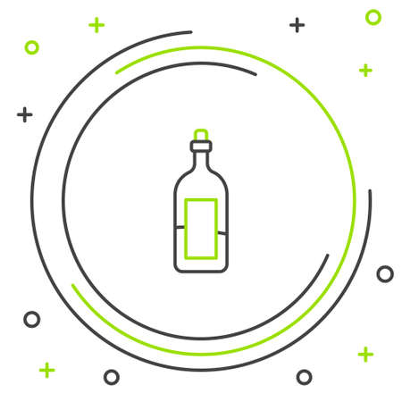 Line Bottle of wine icon isolated on white background. Colorful outline concept. Vector