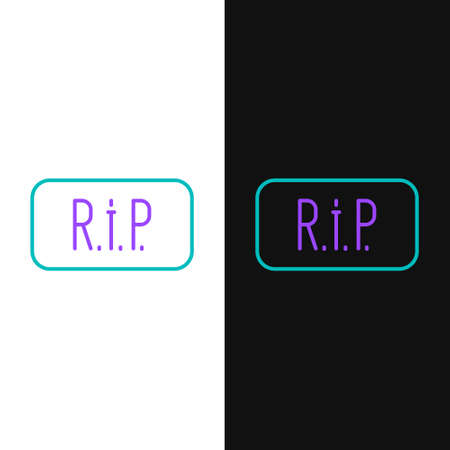 Line Speech bubble rip death icon isolated on white and black background. Colorful outline concept. Vector