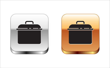 Black Cooking pot icon isolated on white background. Boil or stew food symbol. Silver-gold square button. Vector