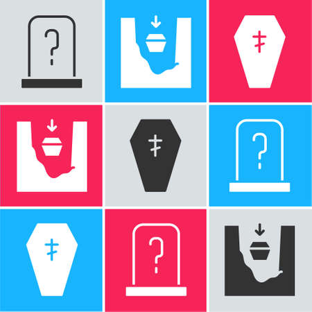 Set Grave with tombstone, Coffin in grave and Coffin with cross icon. Vector Vektorové ilustrace