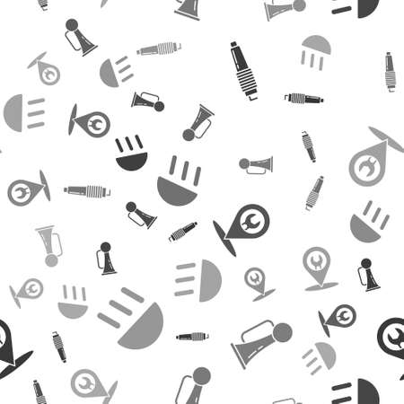 Set Car spark plug, Signal horn on vehicle, Car service and High beam on seamless pattern. Vector Vetores